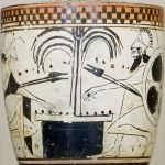 Achilles and Ajax play a board game with knucklebones on this late 6th-century lekythos, a type of oil-storing vessel associated with funeral rites. This file is licensed under the Creative Commons Attribution 2.5 Generic license.  Marie-Lan Nguyen (2011)