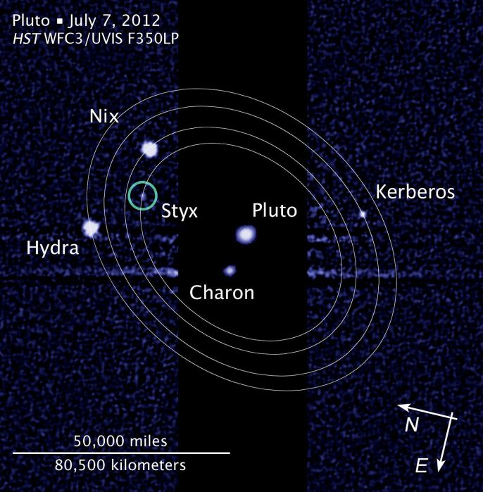 All five known moons, with estimated orbits for the outer satellites NASA, ESA, and L. Frattare (STScI) - http://hubblesite.org/newscenter/archive/releases/2012/32/image/c/